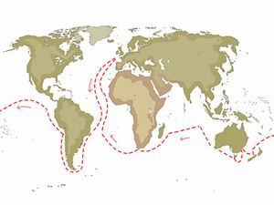 Map showing Darwin's voyage on the Beagle