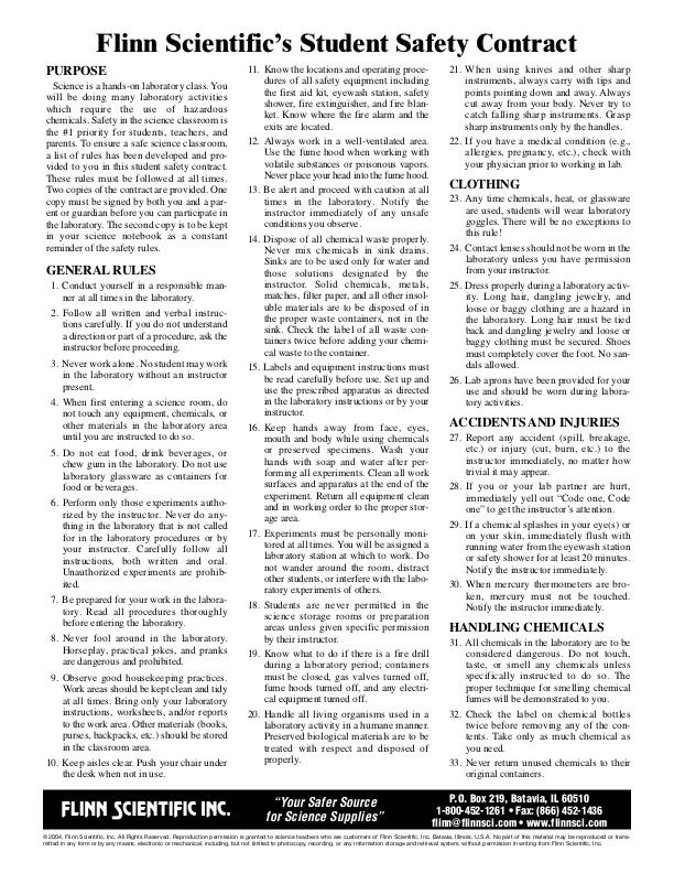 Flinn's Lab Safety Rules & Contract