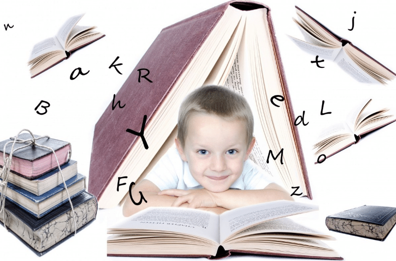 boy with different books
